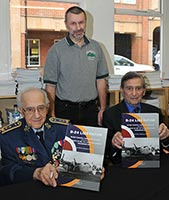 The photo captures Mr. Ivan Schwarz and Mr. Arnost Polak together with the book author Mr. Pavel Türk. Photo © The Aviation Bookshop.